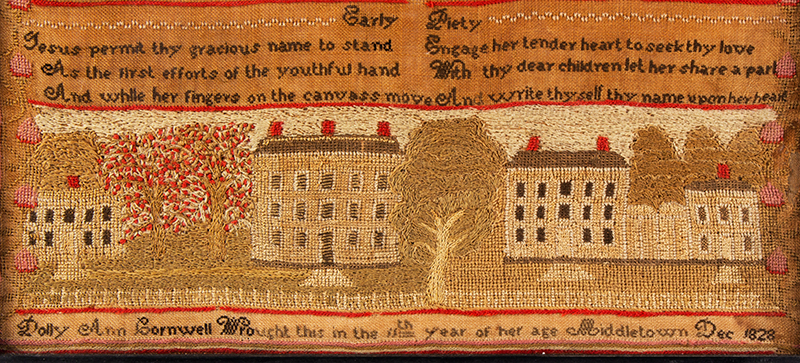 Middletown, Connecticut House Sampler, Dated 1828 Dolly Ann Cornwell Wrought this in the 11th year of her age / Middletown / Dec 1828 Silk and wool on linen, detail view 1