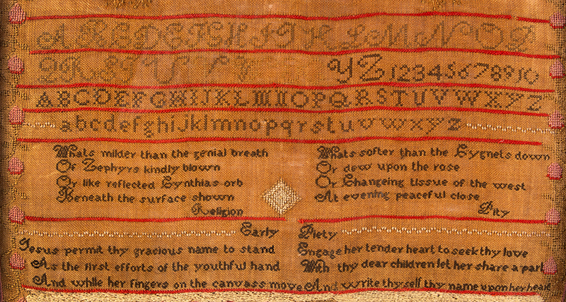Middletown, Connecticut House Sampler, Dated 1828 Dolly Ann Cornwell Wrought this in the 11th year of her age / Middletown / Dec 1828 Silk and wool on linen, detail view 2