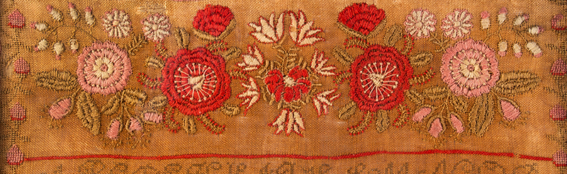 Middletown, Connecticut House Sampler, Dated 1828 Dolly Ann Cornwell Wrought this in the 11th year of her age / Middletown / Dec 1828 Silk and wool on linen, detail view 3