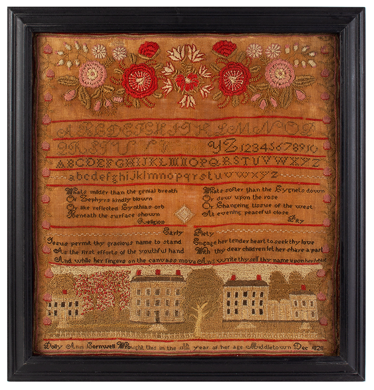 Middletown, Connecticut House Sampler, Dated 1828 Dolly Ann Cornwell Wrought this in the 11th year of her age / Middletown / Dec 1828 Silk and wool on linen, entire view