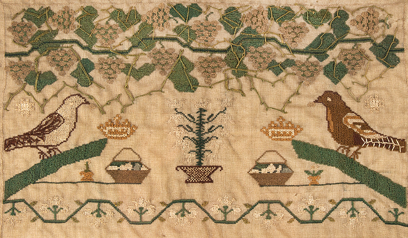 Antique Needlework Sampler, Birds, Grapes, Tendrils and Leaves on the Vine Edith Ann White Her Work, Circa 1818, London Silk-on-silk, excellent condition, detail view 1