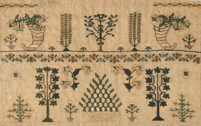 Antique Needlework Sampler, Birds, Grapes, Tendrils and Leaves on the Vine Edith Ann White Her Work, Circa 1818, London Silk-on-silk, excellent condition, detail view 3
