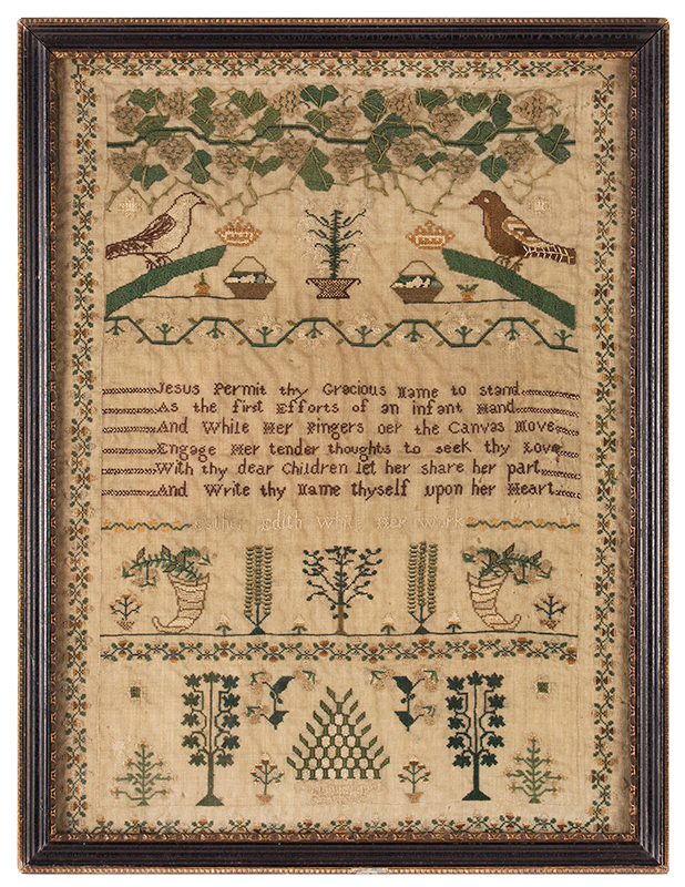 Antique Needlework Sampler, Birds, Grapes, Tendrils and Leaves on the Vine Edith Ann White Her Work, Circa 1818, London Silk-on-silk, excellent condition, entire view
