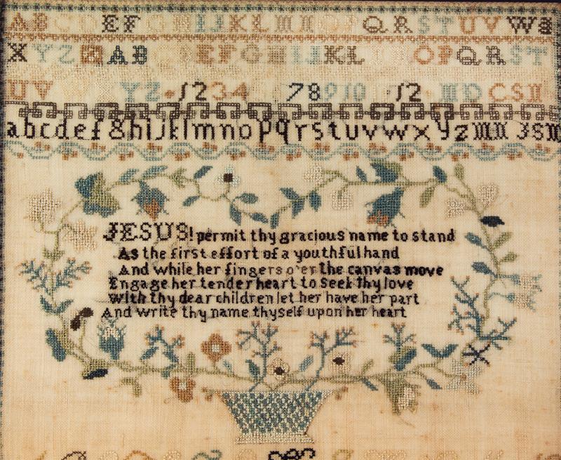 Antique Needlework Sampler, Elizabeth Norris, Probably Maryland, C. 1820 Elizabeth Norris's Work done at Olney House Feb 16, detail view 1