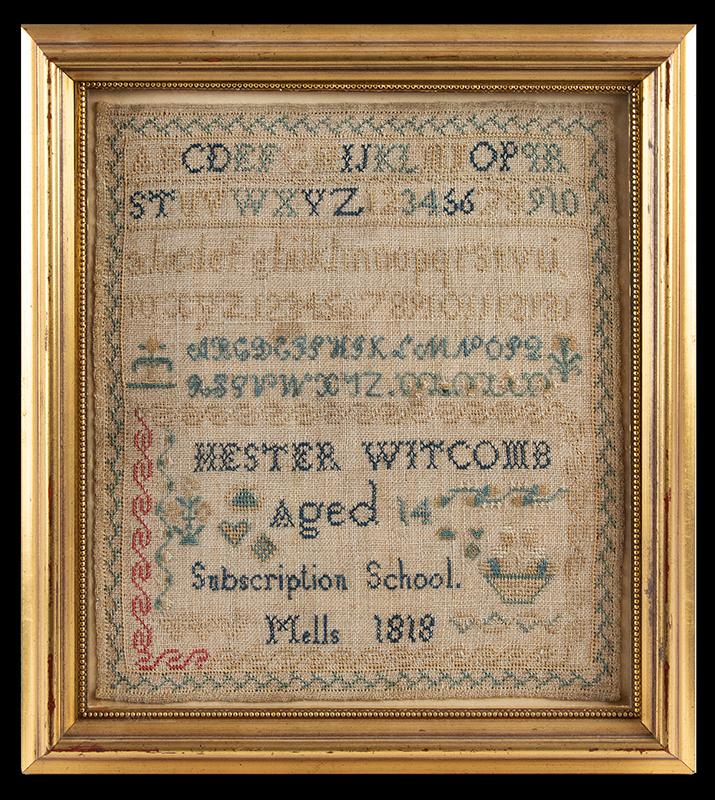Antique Needlework Sampler, Hester Witcomb, Aged 14