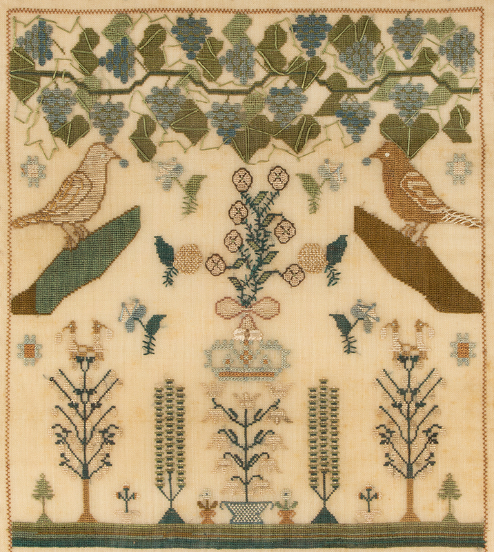 Antique Needlework Sampler, Birds, Grapes, Tendrils and Leaves on the Vine Mary Ann Burn, London, England, 'Worked This Sampler May 30th 1818 Aged 11 Years', detail view 1