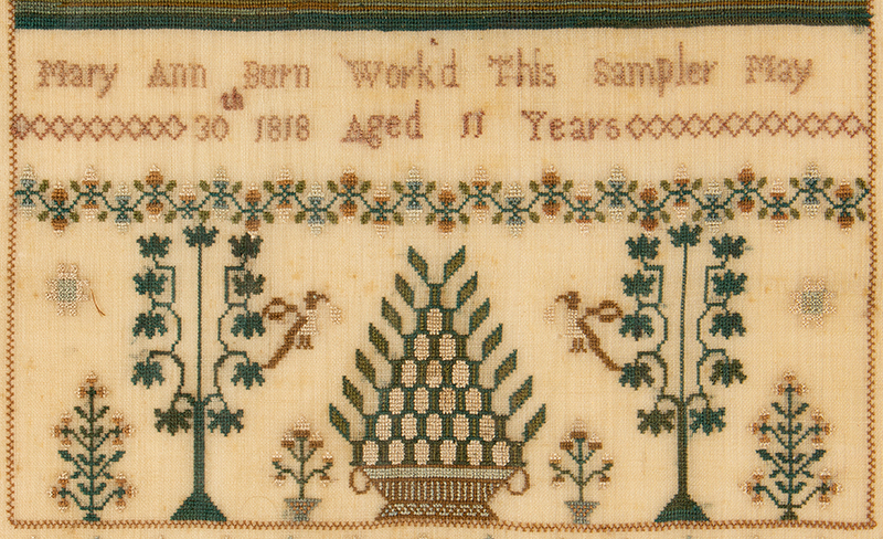 Antique Needlework Sampler, Birds, Grapes, Tendrils and Leaves on the Vine Mary Ann Burn, London, England, 'Worked This Sampler May 30th 1818 Aged 11 Years', detail view 2