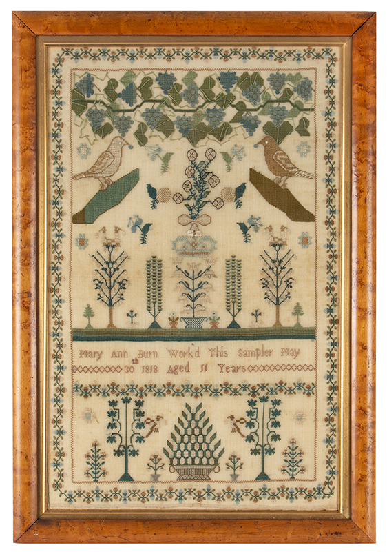 Antique Needlework Sampler, Birds, Grapes, Tendrils and Leaves on the Vine Mary Ann Burn, London, England, 'Worked This Sampler May 30th 1818 Aged 11 Years', entire view