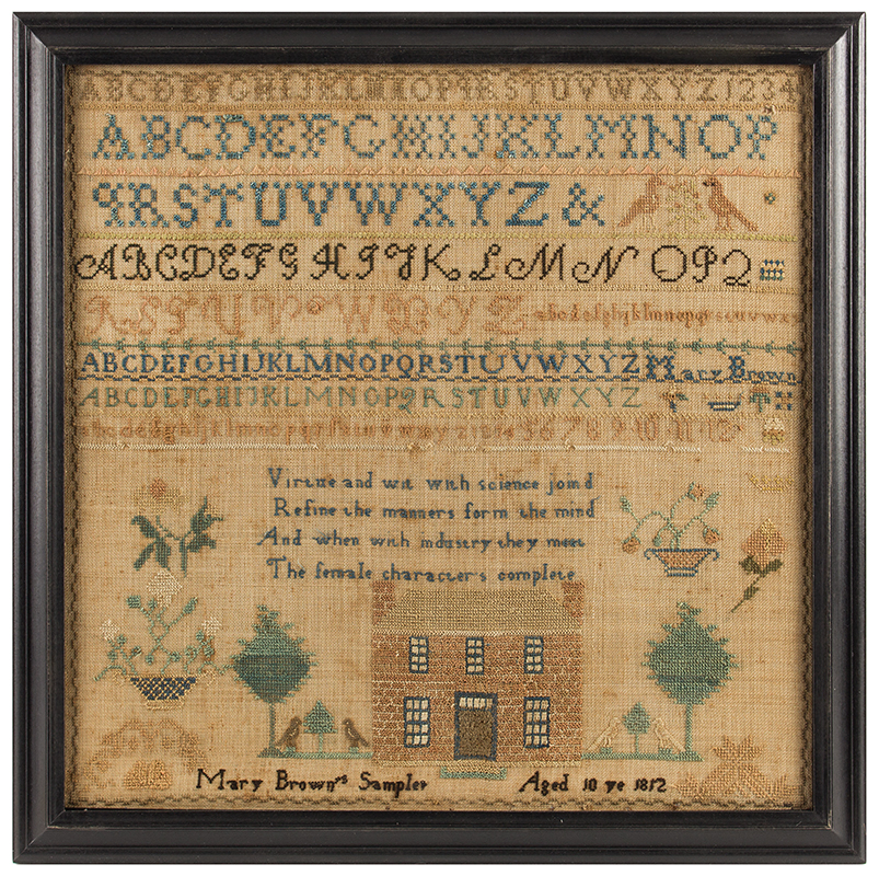 Needlework, House Sampler,Mary Brown, Pennsylvania, Dated 1812