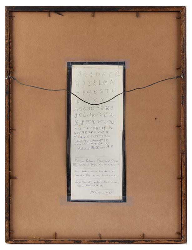 Nineteenth Century Maine Needlework Sampler & Silhouette Wrought by Rebecca H. Nixon, AE 8 Silk on linen; the silhouette…hollow cut & fine inkwork detail, sampler back