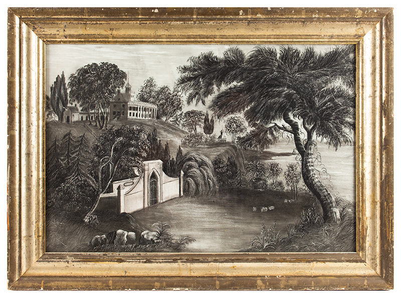 Mt. Vernon, American School Sandpaper Drawing, Charcoal, Tomb of Washington