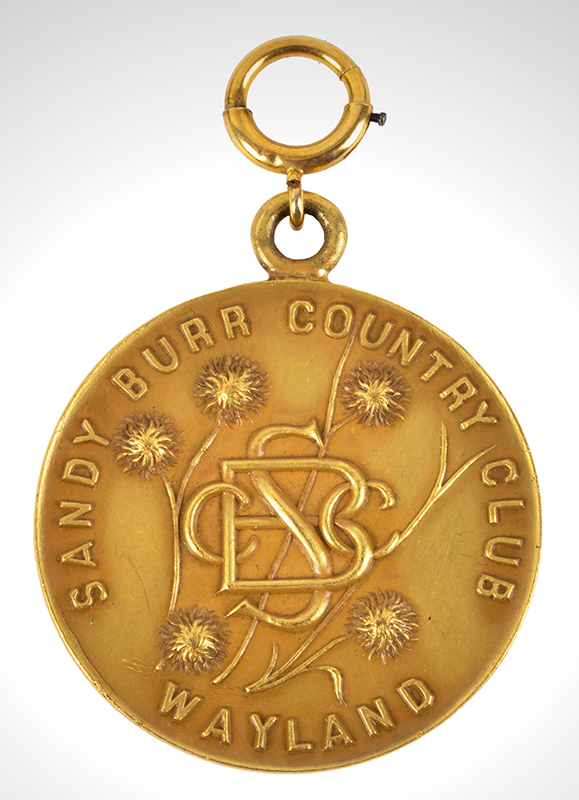 1930 Gold Golf Award Medal, Vice President's Cup Sandy Burr Country Club, Wayland, Massachusetts, side 1 view