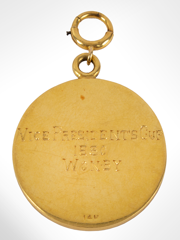 1930 Gold Golf Award Medal, Vice President's Cup Sandy Burr Country Club, Wayland, Massachusetts, side 2 view
