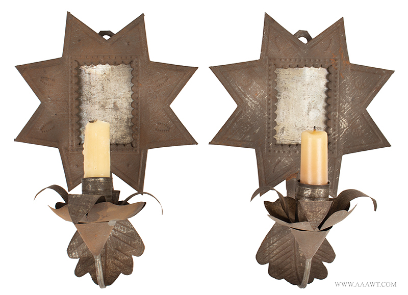 Candle Sconces, Pair, Tinned Sheet Iron, New Mexico, Circa 1860
