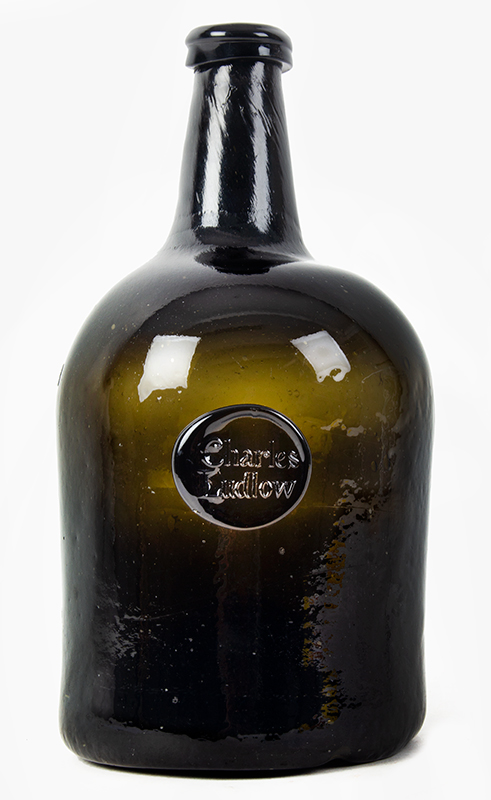 18th Century Sealed Wine Bottle For New York Lawyer, Charles Ludlow England, 1770-1780 Rare bottle for American market, entire view