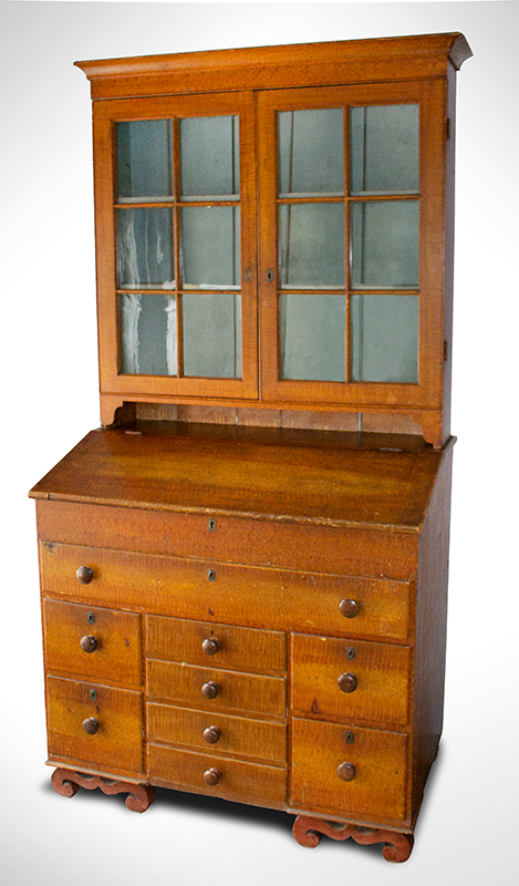 Antique, Secretary Bookcase, Paint Decorated, Glazed Doors  Likely Ohio, circa 1820-1830 Pine and poplar, entire view 1