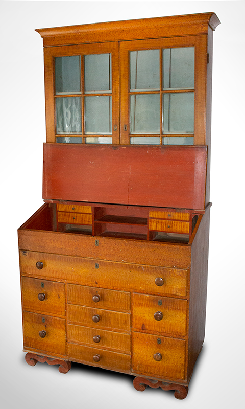 Antique, Secretary Bookcase, Paint Decorated, Glazed Doors  Likely Ohio, circa 1820-1830 Pine and poplar, entire view 2