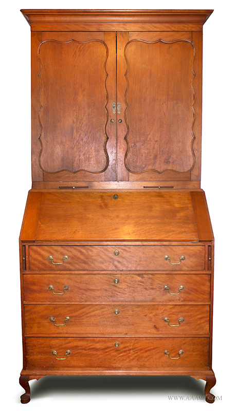 Flame Birch Secretary, Paneled Doors, Bandy legs, Candle Slides Probably New Hampshire, Circa 1765-1780, entire view