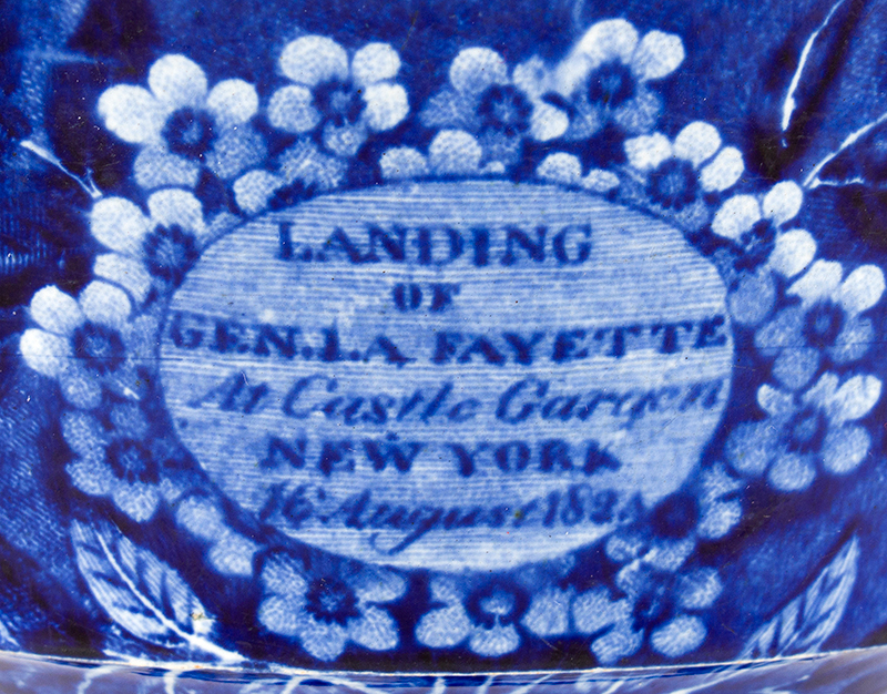 Staffordshire Transferware, Historical Blue, Landing of Lafayette Waste Bowl, 6 Inch, detail view 2