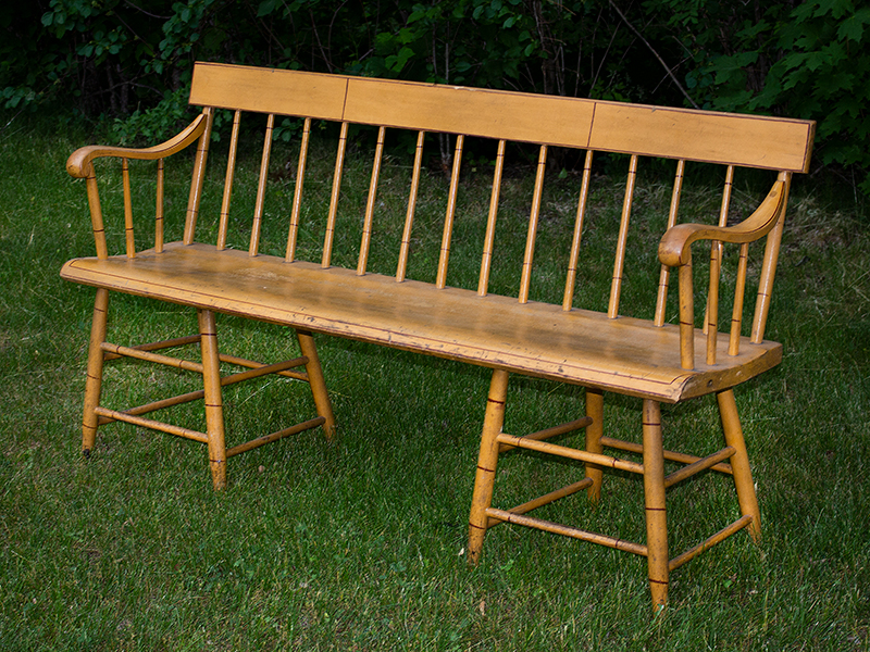 Antique, Windsor Tablet-Top Settee, Painted Bench New England, Possibly Woodstock, Vermont, circa 1840 Legs are set chairwise1, examples known by John N. White Maple and poplar, entire view 1