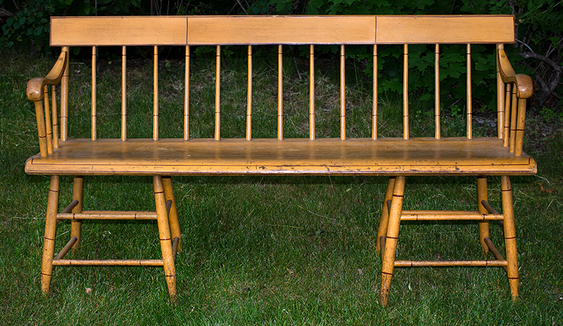 Antique, Windsor Tablet-Top Settee, Painted Bench New England, Possibly Woodstock, Vermont, circa 1840 Legs are set chairwise1, examples known by John N. White Maple and poplar, entire view 3