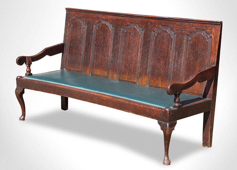 Settle Bench, George III, Fielded Panels, Great Color and Patina Cheshire/South Lancashire, circa 1770, angle view