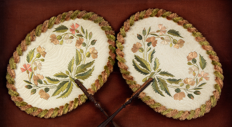 Antique, Ladies Fans, Embroidered, Turned Wood Handles Likely French, circa 1850, entire view sans frame