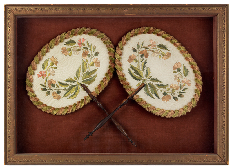 Antique, Ladies Fans, Embroidered, Turned Wood Handles Likely French, circa 1850, entire view