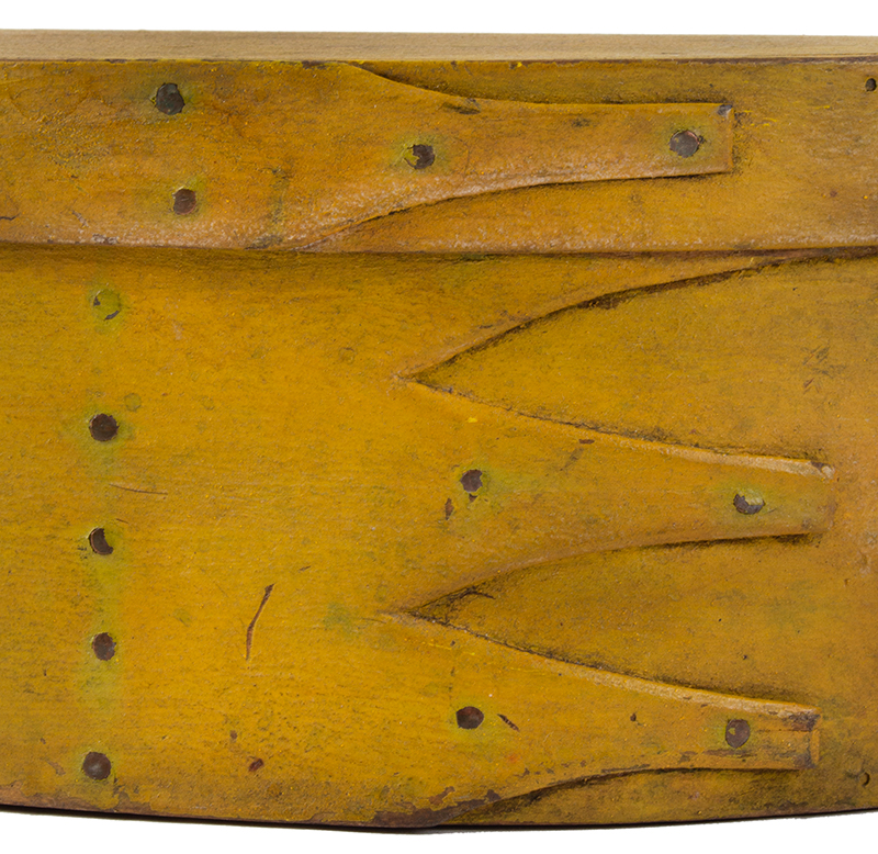 Shaker Oval Box, Mid-19th-Century, Chrome Yellow Maple and pine, detail view