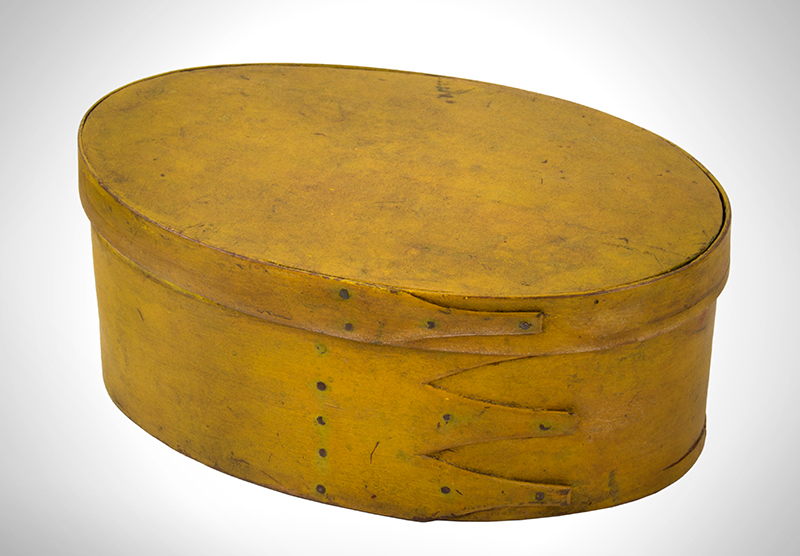 Shaker Oval Box, Mid-19th-Century, Chrome Yellow Maple and pine, entire view 1