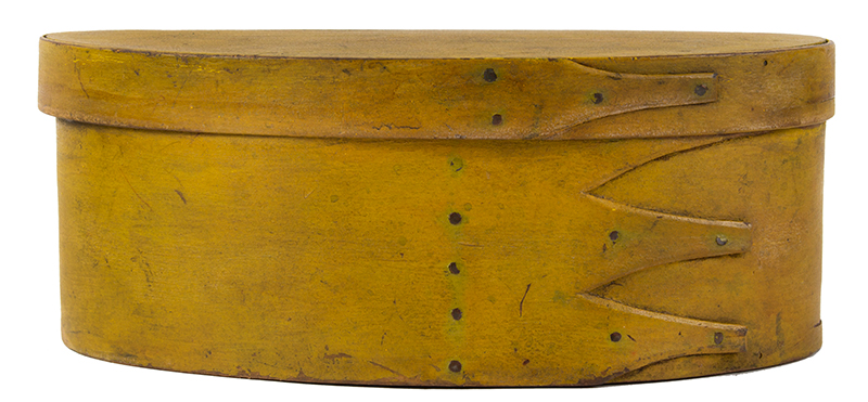 Shaker Oval Box, Mid-19th-Century, Chrome Yellow Maple and pine, entire view 2