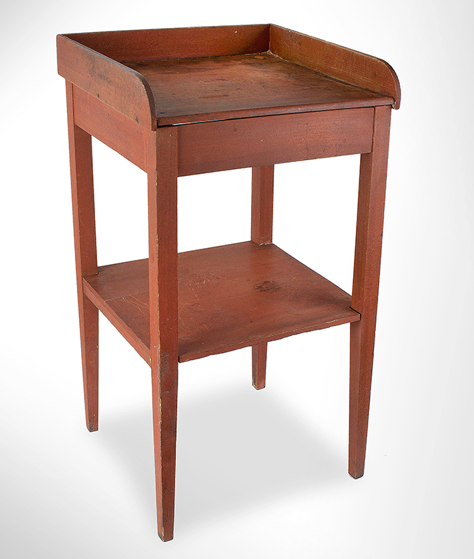 19th Century Washstand, SHAKER, Original Red Stain Mt. Lebanon, New York, circa 1830 Poplar and white pine, entire view 1