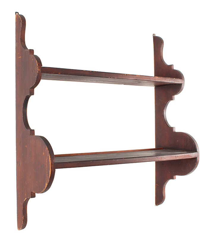 Antique Wall Hanging Shelf,    A pair of graduated shelves dadoed joined to scalloped sides, nice small size    Best Original Dry Natural Surface and Patina    New England, 19th Century, angle view 1