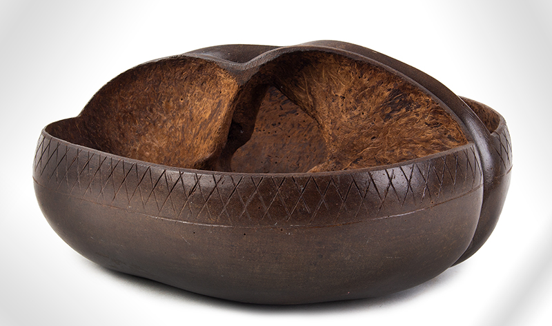 Coco De Mer, Incised & Polished Basket Bowl Seychelles, Indian Ocean ca. 1925 Highly prized, maritime/sailor souvenir, entire view 1