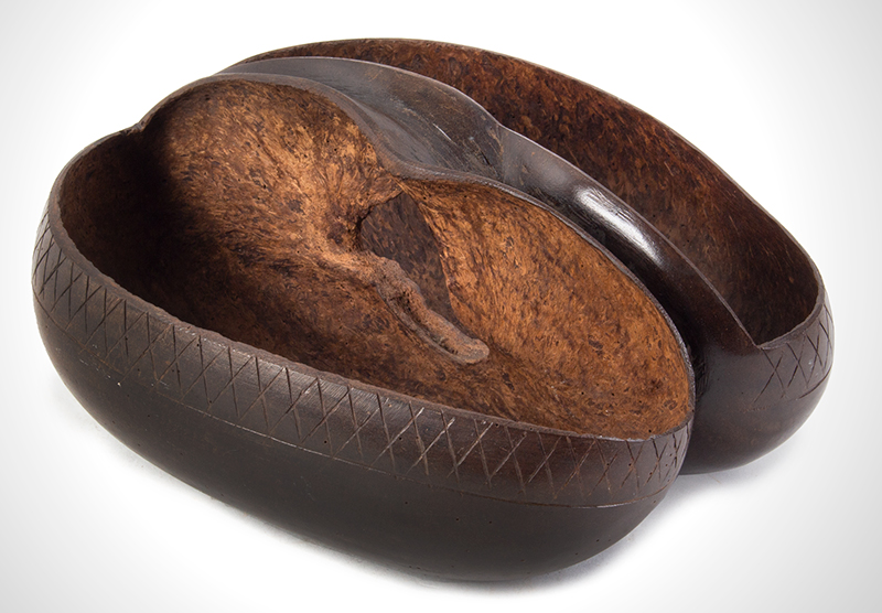 Coco De Mer, Incised & Polished Basket Bowl Seychelles, Indian Ocean ca. 1925 Highly prized, maritime/sailor souvenir, entire view 3