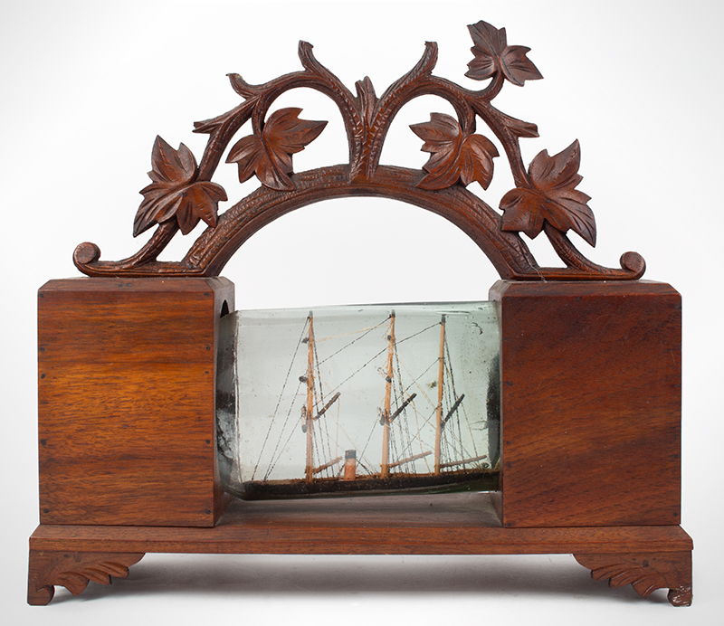 Victorian Cased Ship in Bottle Unknown maker Walnut case, light aqua bottle, entire view 1
