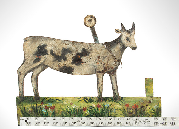 "Antique Shooting Gallery Target, Painted Sheet Iron, 16"" Wide! Unknown Maker, Likely European, 1880-1900, scale view"