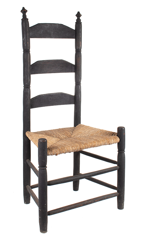 Early Ladder-back Side Chair in Original Black Paint    New England, circa 1790-1830, angle view