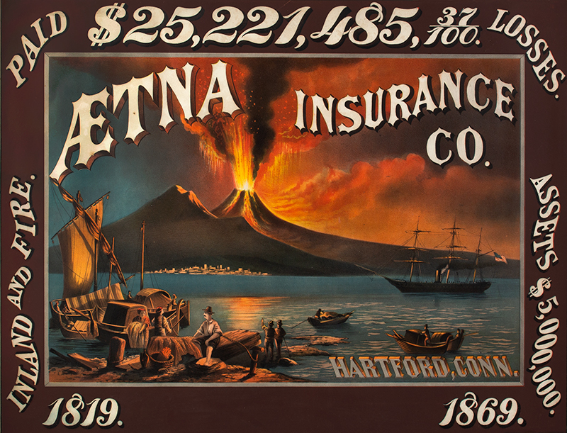 Early Lithographic Advertising for Aetna Fire Insurance Company OUTSTANDING GRAPHICS and COLOR, entire view sans frame