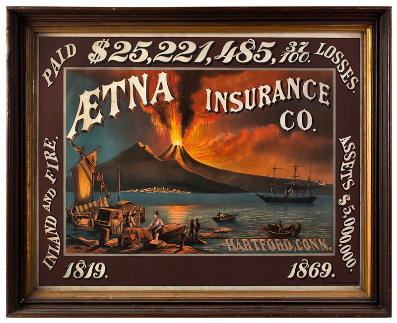 Early Lithographic Advertising for Aetna Fire Insurance Company OUTSTANDING GRAPHICS and COLOR, entire view