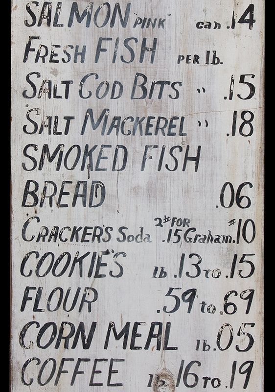 Antique, Mercantile Trade Sign – HIGH QUALITY and LOW PRICES Belfast, Maine, circa 1920 Freehand lettering in black paint against white background…old-time prices!, detail view 2