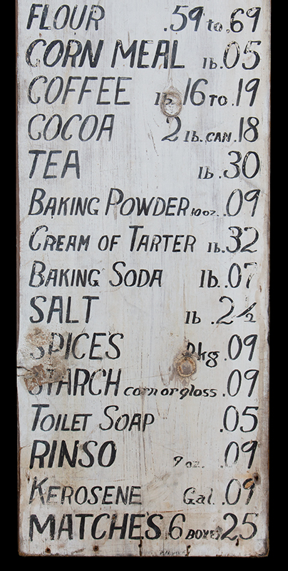 Antique, Mercantile Trade Sign – HIGH QUALITY and LOW PRICES Belfast, Maine, circa 1920 Freehand lettering in black paint against white background…old-time prices!, detail view 3