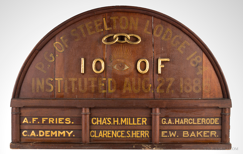 Antique Odd Fellows Lodge Sign, Painted and Gilt, 19th Century, entire view