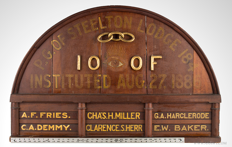 Antique Odd Fellows Lodge Sign, Painted and Gilt, 19th Century, with ruler for scale
