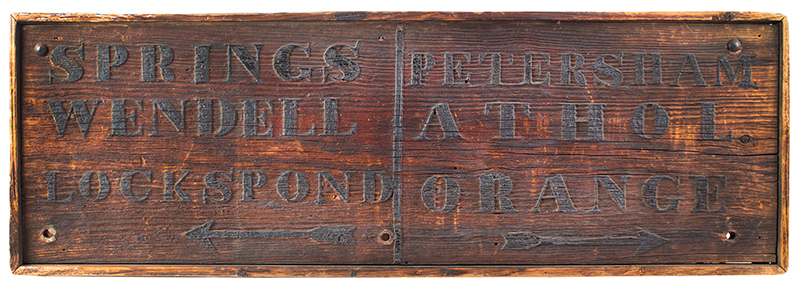 19th Century Road Sign, Western Massachusetts, Preferential Weathering   Pine, applied molding, original condition, BEST patina (48.75'' x 16.25'' x 1.5'') Arrows point to Wendell, Locks Pond [Village was part of Shutesbury], Petersham, Athol & Orange (Massachusetts), entire view 1