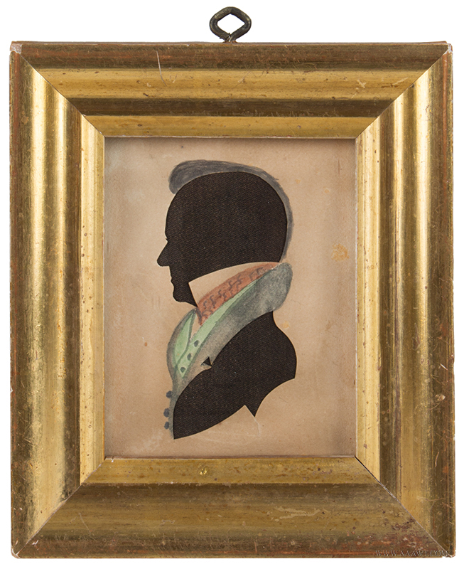 Silhouette, American, Hollow-Cut, Water Colored, Circa 1835 Likely by James Hosley Whitcomb, Deaf-Mute of Hancock, New Hampshire, entire view