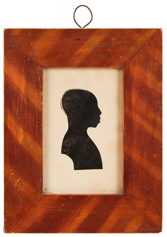 Silhouette, Hollow-Cut Profile, Black Gentleman, Watercolor Hair Detail, Painted Frame