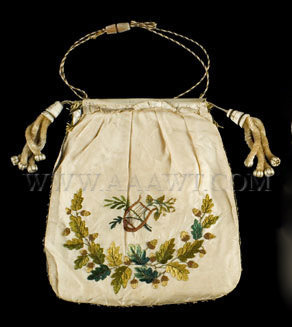 Antique Reticule, Silk Bag, Floral Embroidery, entire view