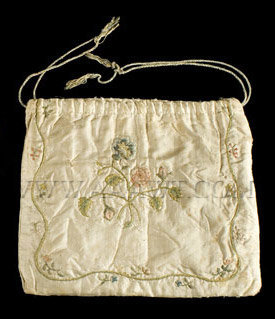 Antique Reticule, Silk Embroidered Bag, Sequins and spangles, entire view