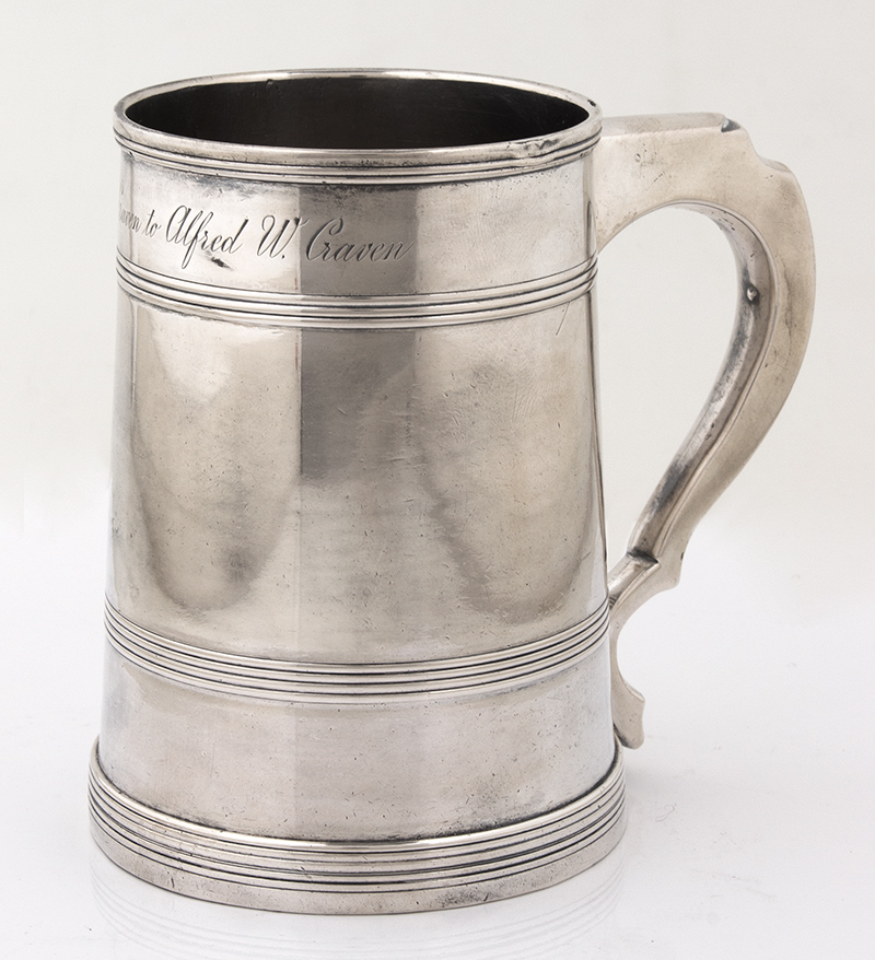 Federal Coin Ribbed Silver Cann by Joseph Lownes (1758-1820), Philadelphia Belden-